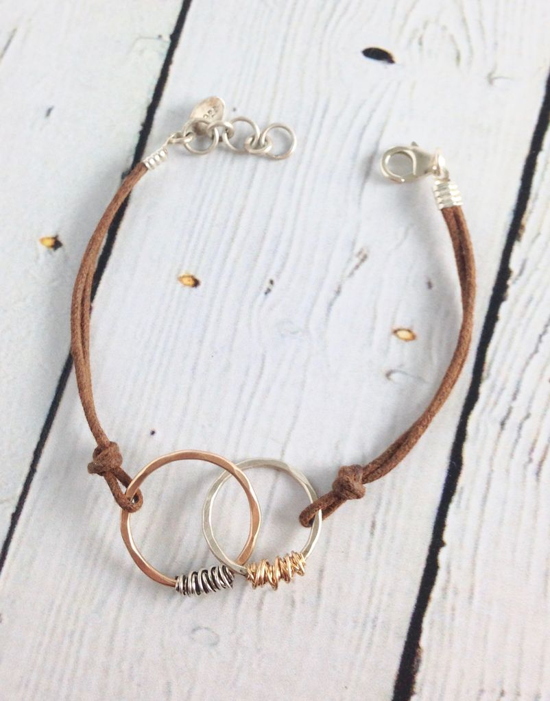 Handmade Sterling Silve and 14K gold fill Interlocking Circles with alternating Wraps on Brown Cord Bracelet