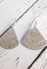 Hilltribe Stamped Fan-Shaped Earrings