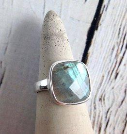 Checkerboard Cut Labradorite Ring, Size 7