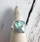 Checkerboard Cut Labradorite Ring, SS, 8