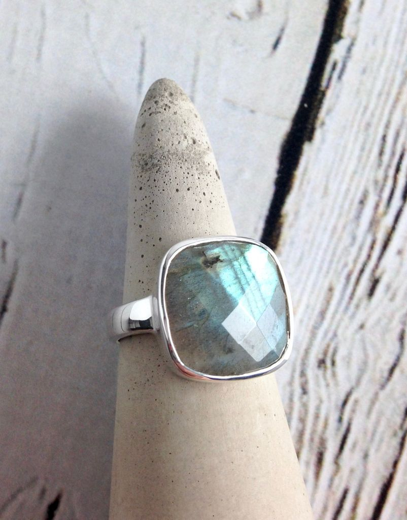 Checkerboard Cut Labradorite Ring, SS, 8
