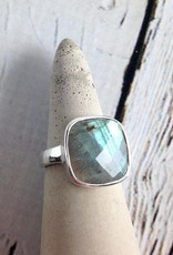 Checkerboard Cut Labradorite Ring, SS, 9