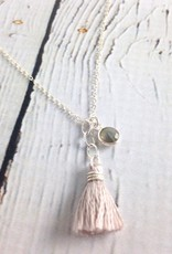 Love Gems Labradorite Necklace with Grey Silk Tassel