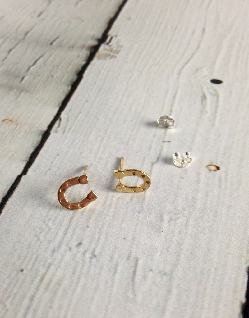 14k Gold-Plated Horseshoe Stud Earrings