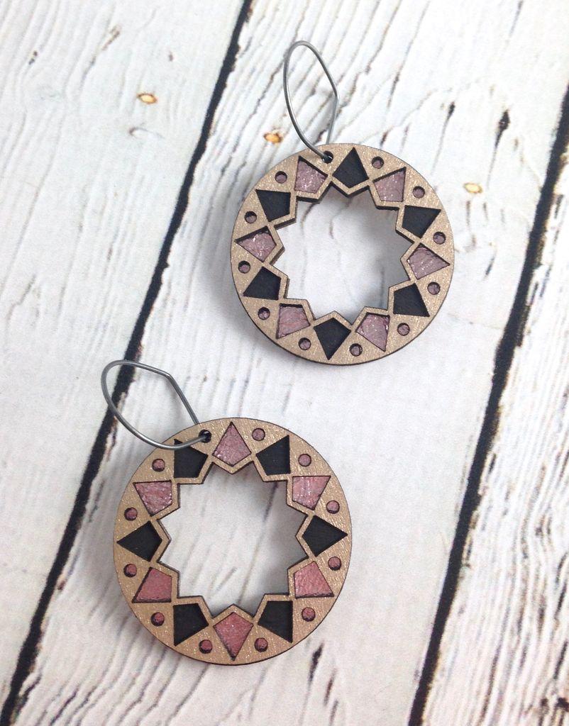 Platinum Wood Benhaddhou Earrings