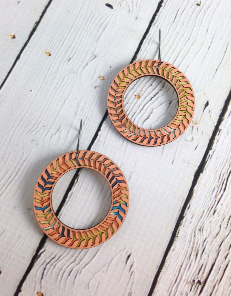 Coral Caetano Color Stained Birch Earrings