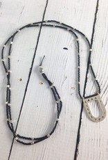 Silver Open Portal Necklace with Black Beads by Molly M. Designs