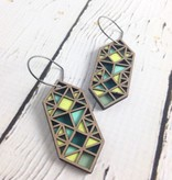 Green Exhex Color Stained Birch Earrings