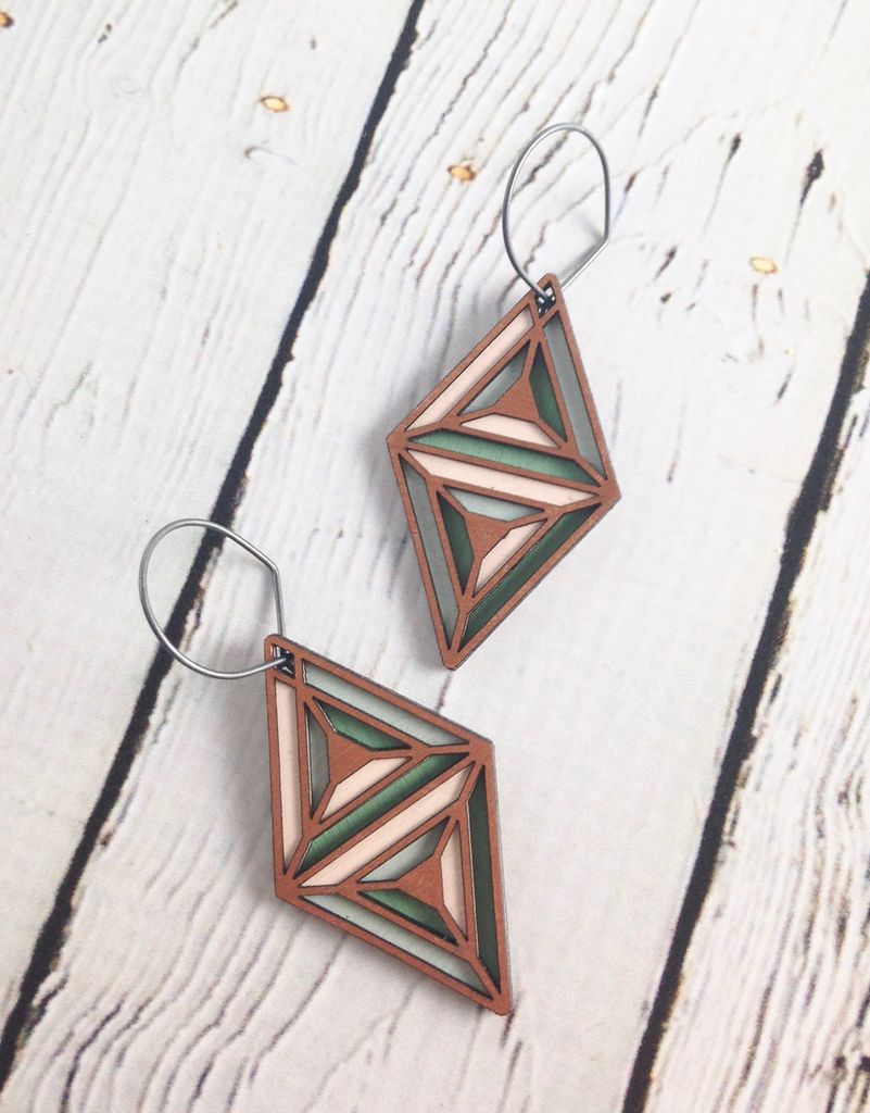 Copper Tricon Painted Birch Earrings by Molly M. Designs