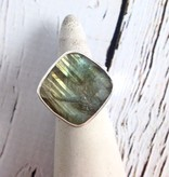 Handmade Faceted labradorite cushion cut on wide sterling band - size 7