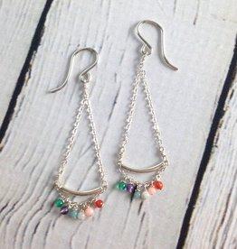 Love Gems Multi Tiny Gem Swing Earrings, SS