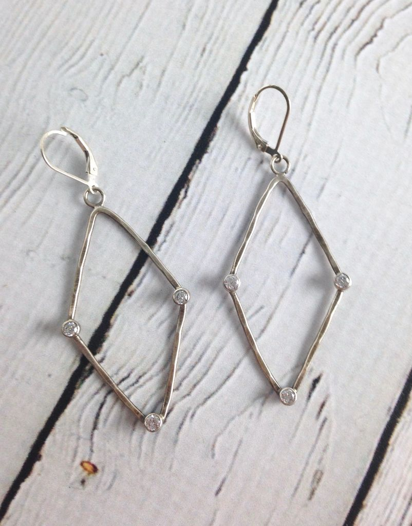 Handmade Hammered Oxidized Sterling Frame with 3 Bezel Set 3mm White CZ earrings