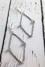 Handmade Hammered Oxidized Sterling Frame with 3 Bezel Set 3mm White CZ earrings
