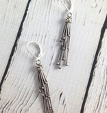 Long Oxidized Sterling Sprout Earrings