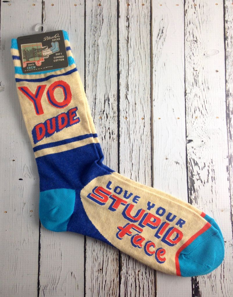 Yo Dude. Stupid Face Men's Crew Socks