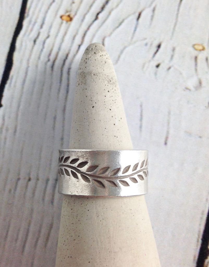 Hill Tribe Silver Band with Stamped Vine