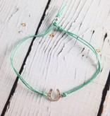 "Handmade Lucky Bracelet, Silver Horseshoe on Mint Irish Linen Cord, 7"""""