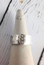 Hammered Sterling Overlap Band with 14kt Gold Rivets Ring, Size 10