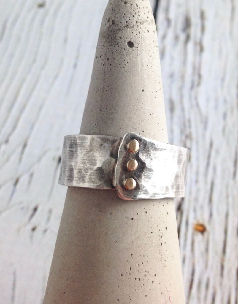 Hammered Sterling Overlap Band with 14kt Gold Rivets Ring, Size 9