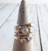 Ethereal Ring, Size 9Sterling Silver ring with 7 Gold bezel set Rainbow Moonstones