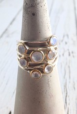 Ethereal Ring, Size 8Sterling Silver ring with 7 Gold bezel set Rainbow Moonstones