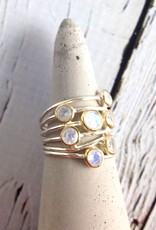 Ethereal Ring, Size 6Sterling Silver ring with 7 Gold bezel set Rainbow Moonstones