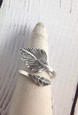 Oxidized Sterling Silver Feather Wrap Ring