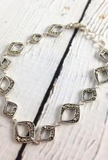 "Sterling Silver and Marcasite 7.5"" Link Bracelet"
