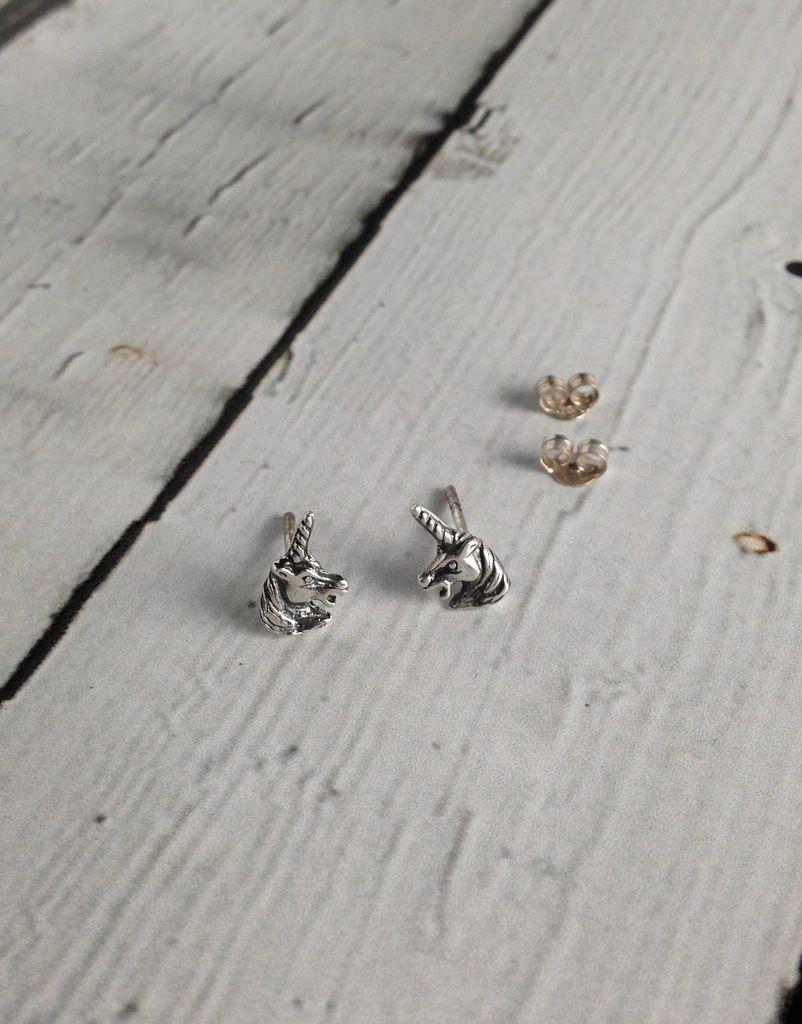 Sterling Silver Unicorn's Head Earrings