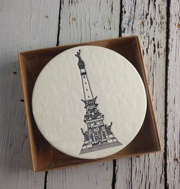 Set of 12 Monument Letterpress Coasters, Slate Blue