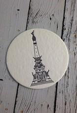 Set of 12 Monument Letterpress Coasters, Slate Blue