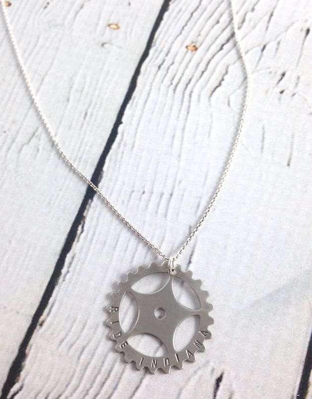 Handstamped Ride Indiana Gear Necklace