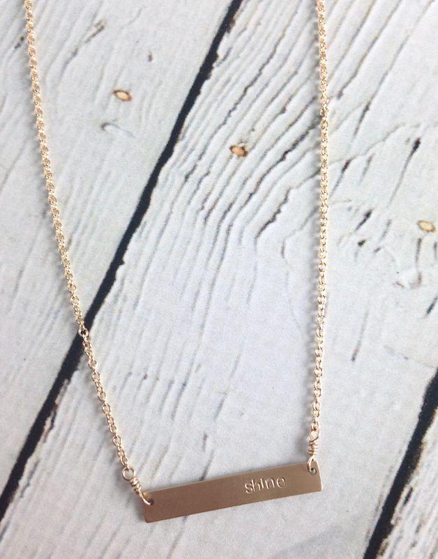 Handstamped Shine Gold Filled Bar Necklace
