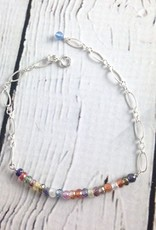"""Sterling Silver """"Many Wishes"""" Bracelet with row of Mulitcolor stones"""