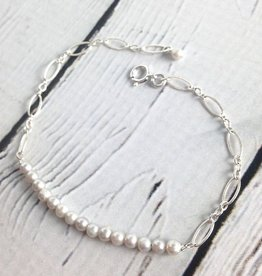 """Sterling Silver """"Many Wishes"""" Bracelet with row of White Pearls"""