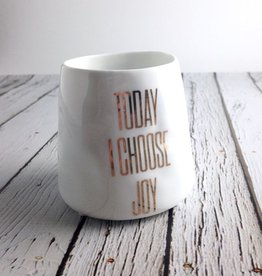 """Today I Choose Joy"" White and Gold Ceramic Votive Holder"