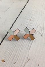 Gold Lattice Painted Birch Stud Earrings by Molly M. Designs