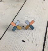 Blue Lattice Painted Birch Stud Earrings by Molly M. Designs