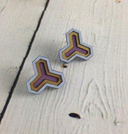 Lavender Cloud Painted Birch Stud Earrings by Molly M. Designs