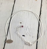 Brushed Silver Oval AMOUR Necklace