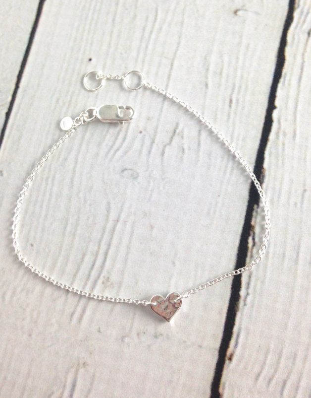 Sterling Silver Tiny Hammered Heart Bracelet