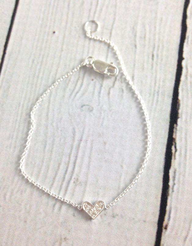 Sterling Silver CZ Pave Heart Bracelet