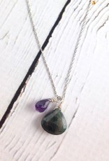 Handmade Silver Necklace with Emerald (dyed), Amethyst