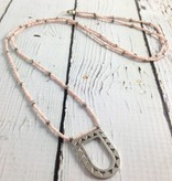 Silver Open Portal Necklace with Pink Beads by Molly M. Designs