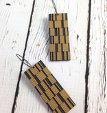 Chip Metallic- Stained Birch and Oxidized Silver Earrings