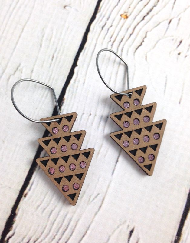 Platinum Wood Dart Earrings by Molly M. Designs