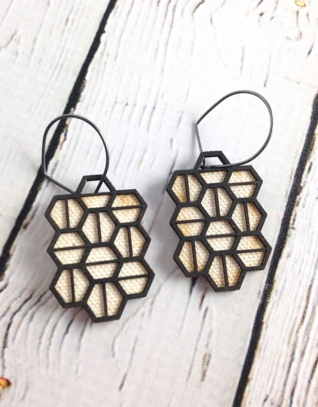 Multihex Wood Earrings by Molly M. Designs