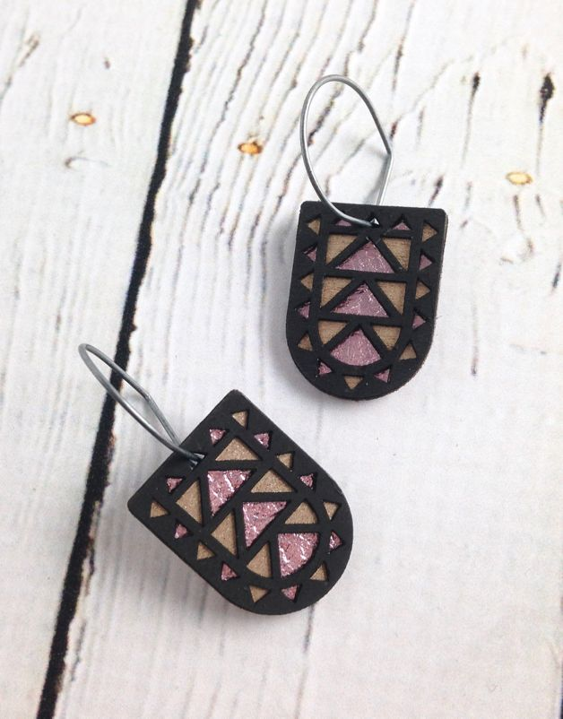 Black Wood Portal Earrings by Molly M. Designs