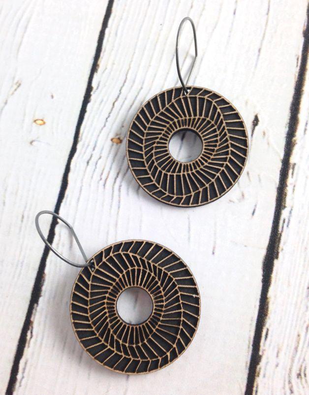 Vortex Birch Veneer Earrings by Molly M. Designs