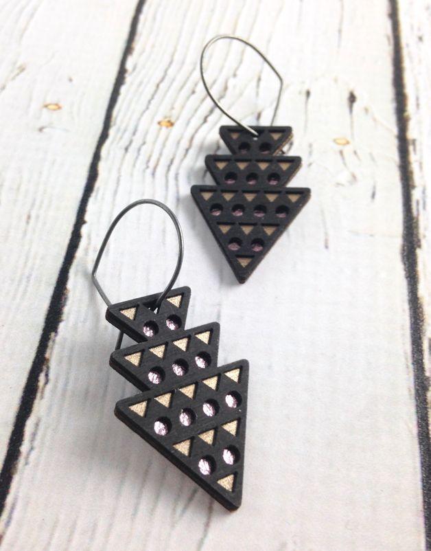 Black Wood Dart Earrings by Molly M. Designs